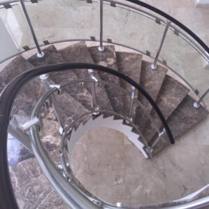 Luxury Marble Staircase in Dark Emperador - picture 1