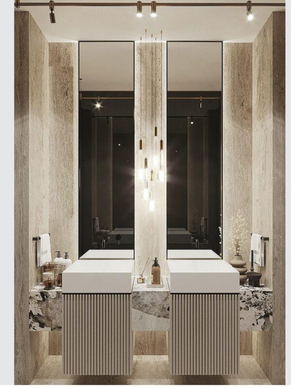 PATAGONIA + TRAVERTINO BATHROOM .